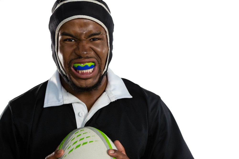 Male rugby player wearing mouthguard