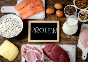A table of foods high in nutritional protein