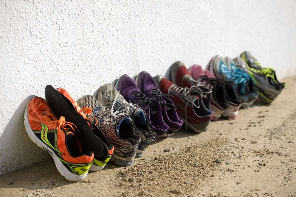 Row of running shoes