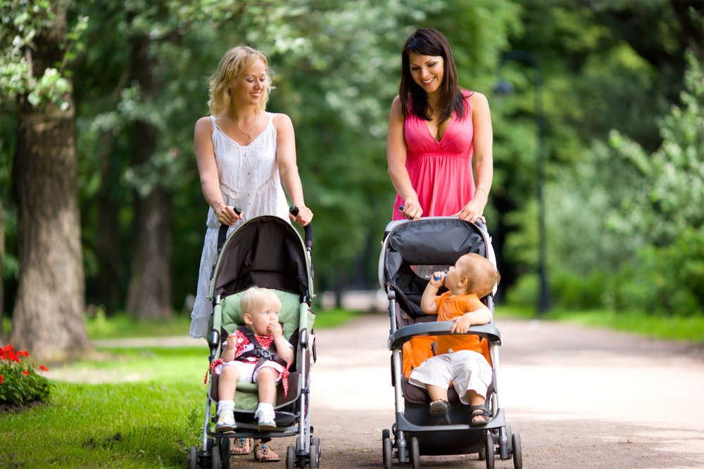 Mothers walking together with kids in prams