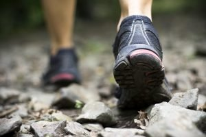 Running/training shoes being used on a walk