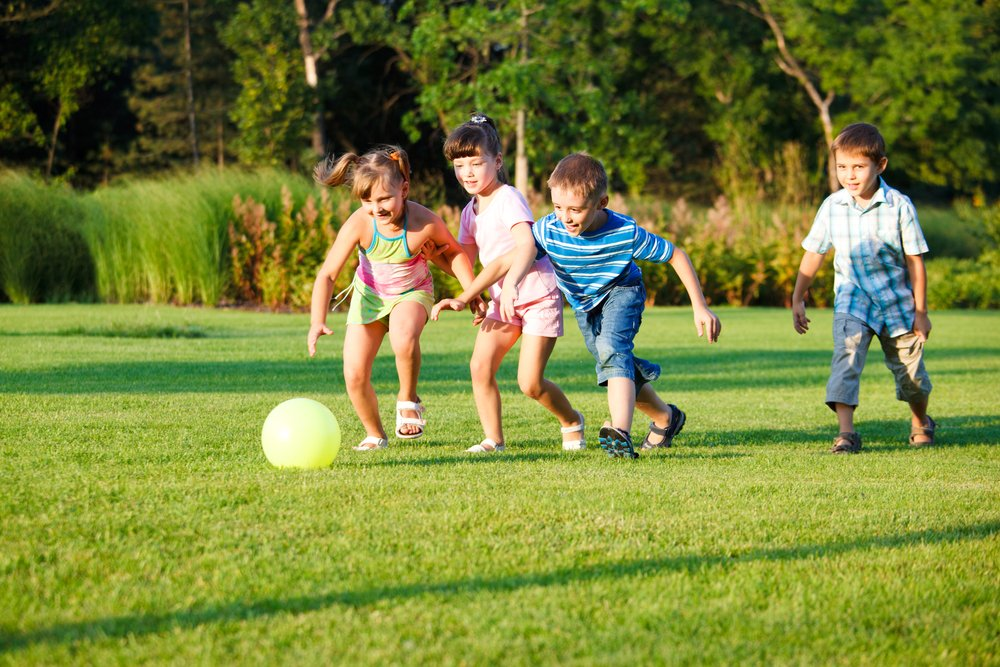 Kids playing with a ball on the grass
