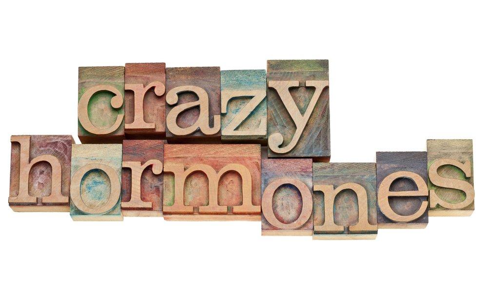 letterpress blocks spelling Crazy Hormones