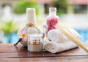 picture of Ayurveda spa treatment herbs and massage oils