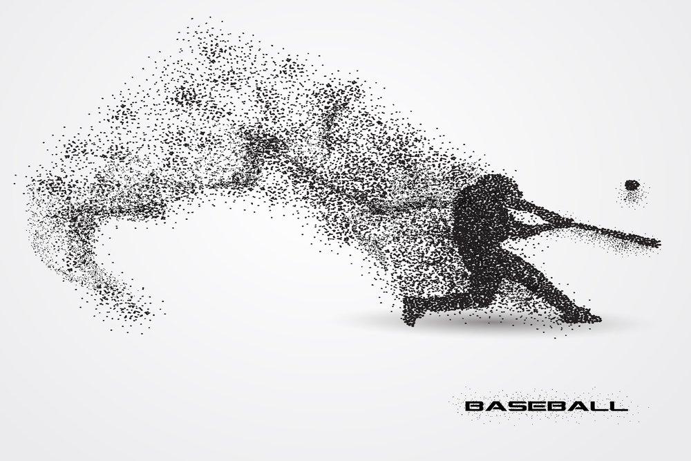 Graphic representation of a baseball batter striking a ball