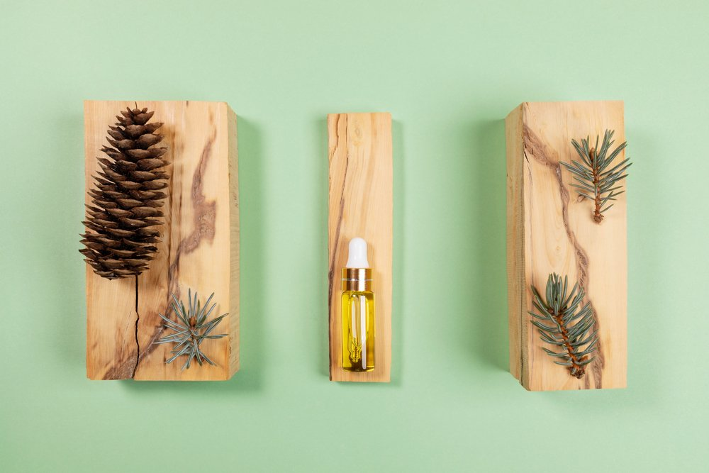 Creative aromatherapy and spa arrangement of essential spruce oil in small glass bottle, small twigs and cone on boxwood stands on light green backdrop. View from above. A good example of aromatherapy for women