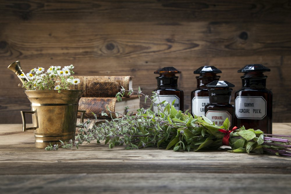 Natural medicines and herbs on a table