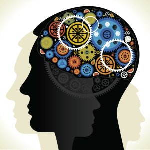 cartoon image of cogs whirring in a man's brain