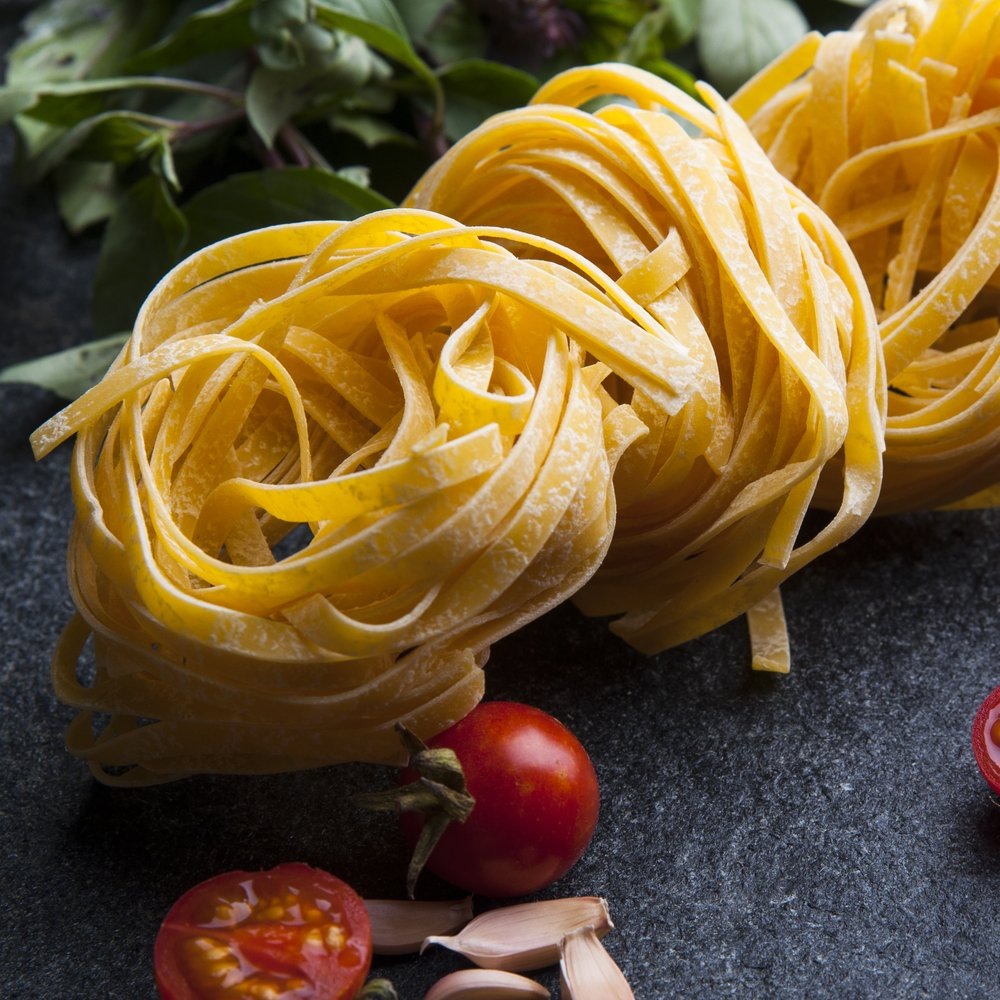 A nest of white durum wheat pasta, which is low on the glycemic index