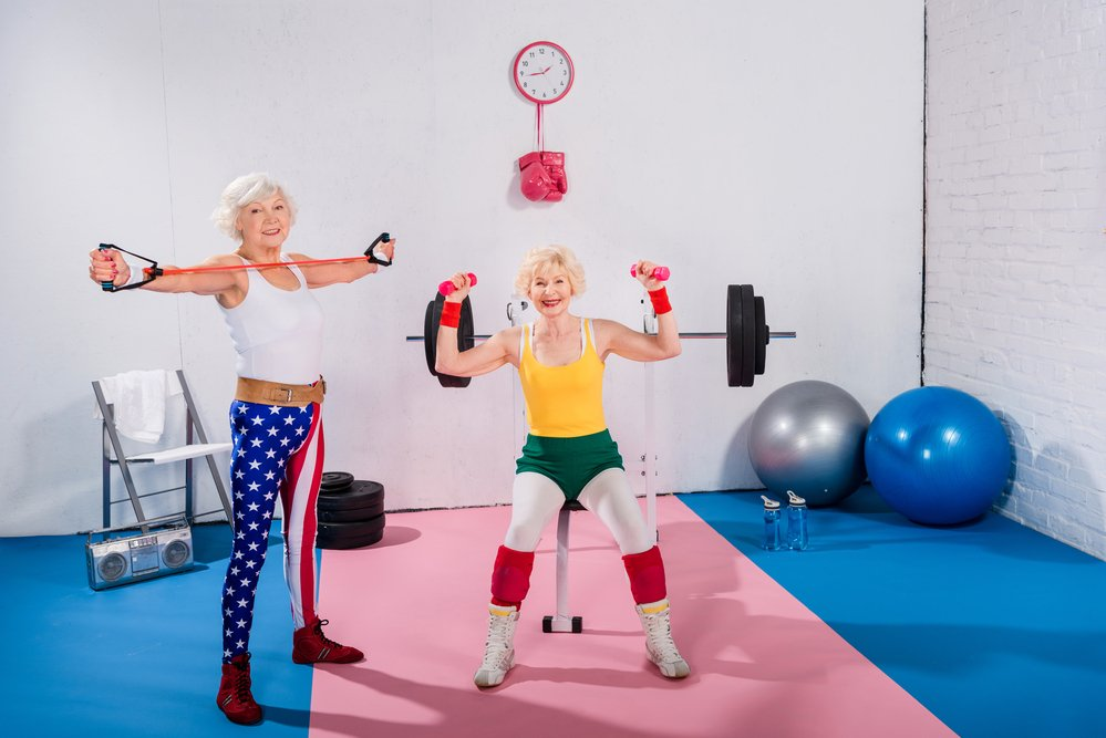 2 sporty senior women. For women's health, be active.