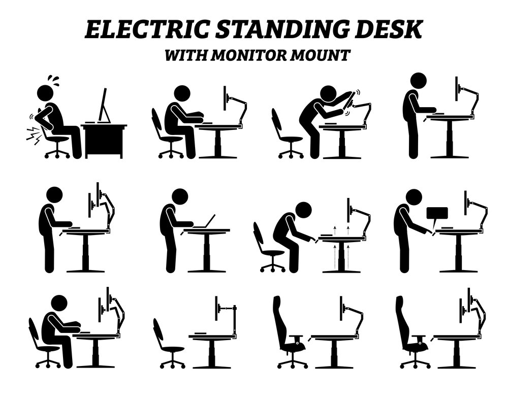 A selection of diagrams showing different types of desks and the benefits of standing desks