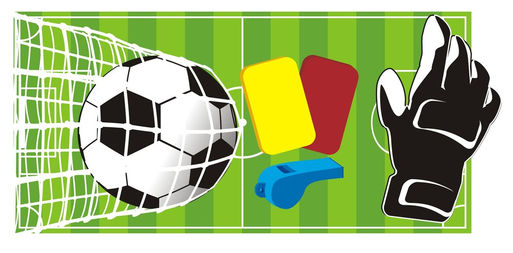 A graphic of a soccer pitch, soccer ball, whistle and red & yellow cards