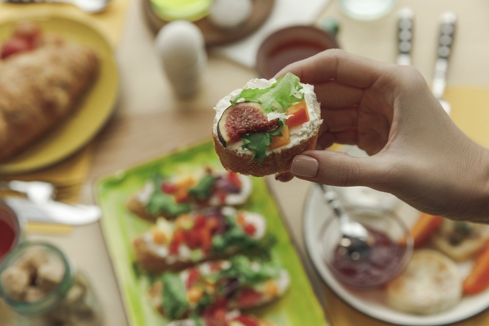 Close up partial view of a delicious, healthy, open-sandwich. Great as part of a new exercise regime