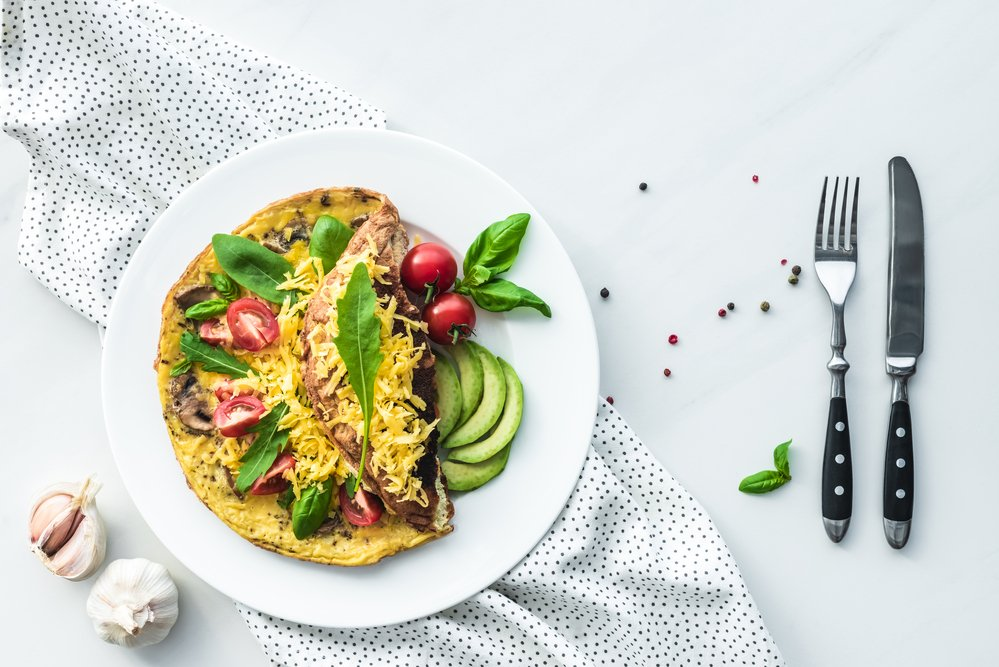 A healthy omelette and veg. Make no excuses and eat well and exercise.