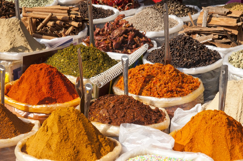 Sacks of colourful spices, many of which are good for Ayurveda healing.