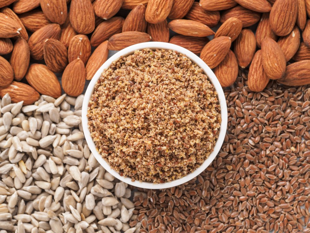 Homemade LSA mix in plate - Linseed or flax seeds, Sunflower seeds and Almonds. Traditional Australian blend of ground, source of dietary fibre, protein, omega fatty acids.