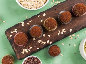 Protein energy balls with cacao and seeds. Bliss balls recipes are easy and delicious.