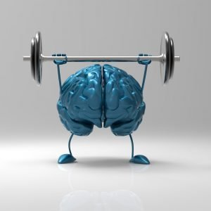 cartoon image of brain exercising with barbells. Relates to how exercise affects our brain.