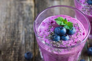 Best protein shake Recipe - blueberry, acai and chia seeds protein smoothie
