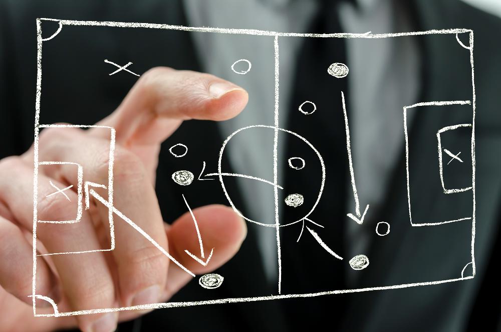 football coaching tactics (soccer) on an interactive whiteboard